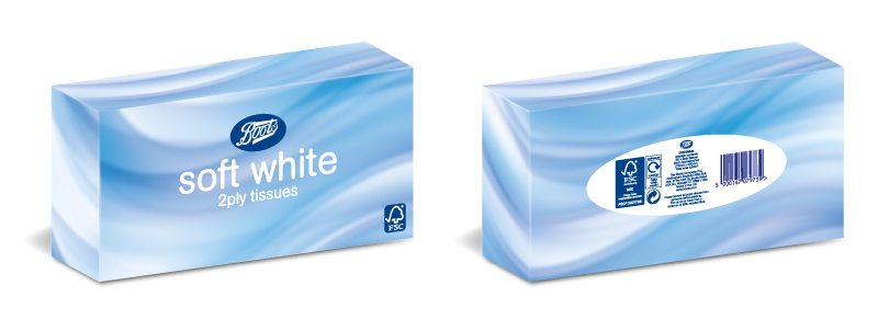 Retail Packaging Design - Boots Soft White Tissues